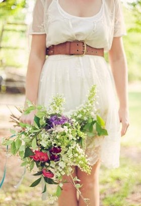 Brown leather belt _ bride _ wedding